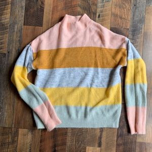 Forever 21 striped mock neck sweater size small